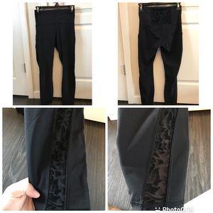 Lululemon black leggings velvet lace detail